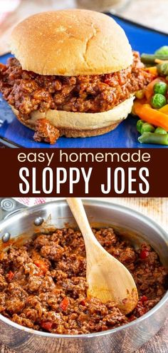 Homemade Sloppy Joes will have the kids running to the dinner table! The slightly sweet, mildly spicy, rich and tangy flavor you love, but made with simple pantry ingredients instead of a pre-made can of sauce. A quick and easy dinner recipe for busy families with flexible serving options besides just piling the ground beef mixture on a hamburger bun. Check out the blog post for easy, fun, and even gluten free serving suggestions. Homemade Sloppy Joe Recipe, Homemade Sloppy Joes, Sloppy Joes Recipe, Quick Easy Meals, Easy Dinner Recipes, Easy Dinners, Fall Recipes, Gluten Free Buns, Beef And Potatoes