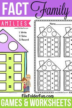 Free Fact Family Games and Worksheet for children! Addition, Subtraction, Multiplication and Division worksheets for hands on math! Fun printables for teach