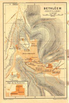 Bethleem Map  1912 Karl Baedeker Bethlehem by CarambasVintage, $16.00