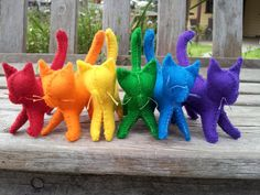 A Rainbow of 6 Handmade Cats/Kittens by JaxFancy on Etsy