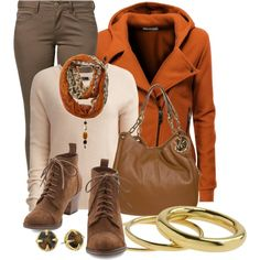 """""""Orange and Brown"""" by lakegirl511 on Polyvore"""