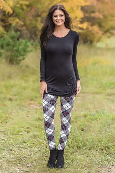 Here To Stay White Grey Red Printed Leggings
