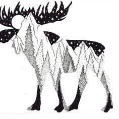 Best Landscaping Companies Near Me Moose Silhouette, Silhouette Tattoos, Mountain Drawing, Mountain Tattoo, Alaska Tattoo, Moose Tattoo, Drawing Tutorials For Beginners, Landscape Tattoo, Drawing Skills