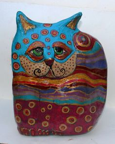 Michi  OOAK Paper Mache Clay Cat Sculpture by GinsLilCharacters SOLD :-)