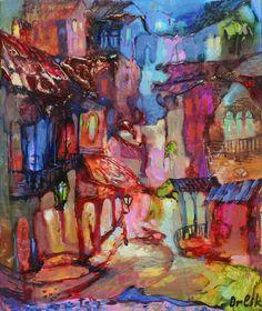 "Original Painting   Artist: Inna Orlik   Title: ""Mystical Night""  SIZE: 11,8x9,8 in(30x25cm) Greece Art, Athens Greece, Small Paintings, Original Paintings, Unique Art Projects, Renaissance Paintings, Greek Mythology, Byzantine, Ancient Greek"