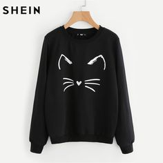 Find More Hoodies & Sweatshirts Information about SHEIN Cartoon Cat Print Sweatshirt Long Sleeve Casual Women Pullovers Black Round Neck Cute Sweatshirt for Women,High Quality sweatshirt for woman,China printed sweatshirt Suppliers, Cheap cute sweatshirts for women from SheIn Official Store on Aliexpress.com