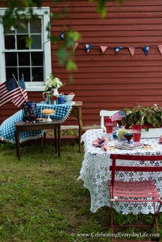 4th of July Party Ideas, July 4th Party Ideas, July 4th Tablescape, Red, White and Blue Party Decor, Red White and blue tablescape, Red White and Blue Party, Independence Day Party, Summer Party Ideas, Simple Party Ideas, Red Barn Party Decor, Celebrating Everyday Life with Jennifer Carroll