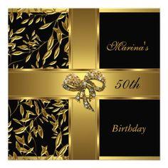 Elegant 50th Birthday Black Gold Floral Bow 2 Custom Invite Invitations