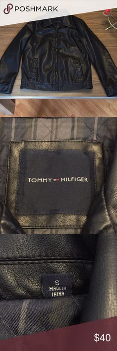 Tommy Hilfiger small black men's leather jacket New without tags very warm Tommy Hilfiger Jackets & Coats Bomber & Varsity
