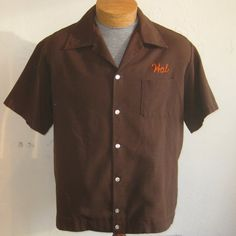 Vintage 50s Bowling Shirt Brown Chain Stitched Tierrasanta San Diego Team Captain Shirt Hal via Etsy