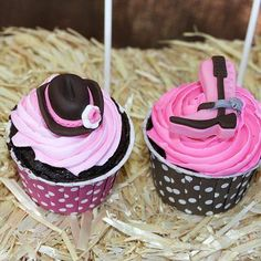 Cowgirl Party  Adorable fondant embellishments top these Cowgirl cupcakes.