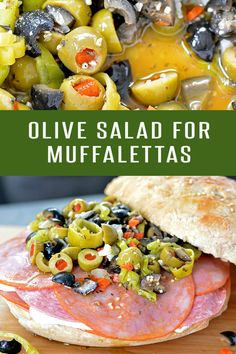 Whip up a batch of this Olive Salad for an authentic Muffaletta Sandwich experience! Or serve it solo on your charcuterie platter. Sandwich Recipes, Lunch Recipes, Salad Recipes, Cooking Recipes, Sandwich Platter, Sandwich Ideas, Olive Recipes, Italian Recipes, Recipes