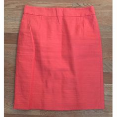 J.Crew coral pencil skirt sz 8. Gorgeous! J.Crew coral pencil skirt. Size: 8. Waist (flat, across): 15.5 inches. Length: 22.5. Gorgeous coral color. Fully lined. Back zipper closure. Back slit. Thick waistband. Great preowned condition. J. Crew Skirts Pencil