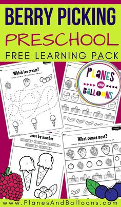 Preschool learning pack FREE printable - spring and summer berry theme worksheets. Learning Numbers Preschool, Preschool Puzzles, Kindergarten Math Worksheets, Free Preschool, Fun Learning, Starting Kindergarten, Printable Activities For Kids, Preschool Printables, Preschool Activities