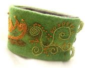 Hand-Embroidery Handmade Cuff Bracelet Hand Embroidered Green Jacobean Lotus Flower Wool Part of a TAGT team Etsy treasury, click to see more.