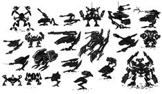 mech silhouettes by ~curlhead on deviantART