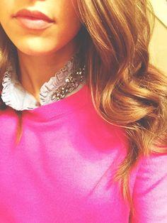 Pink sweater, jeweled collar
