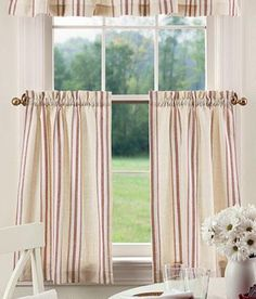 French Ticking Cafe Curtains - Pair