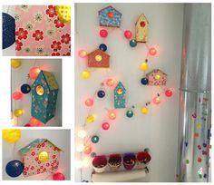 Decoración Infantil : Guirnaldas con casitas de pajaros