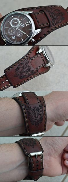 Lo quiero pero ya                                                                                                                                                                                 Más Leather Cuffs, Leather Tooling, Leather Strap Watch, Leather Wallet, Leather Bag, Leather Carving, Saddle Leather, Leather Watch Bands, Leather Accessories