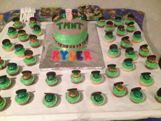 TMNT Cake & Cupcakes for Ryder's 3rd Birthday!