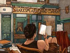 Leyendo frente a la librería (ilustración de Miles Hyman)