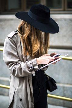 wide brim black hat, trench coat, mini Chanel bag #style #fashion #rainyday #streetstyle