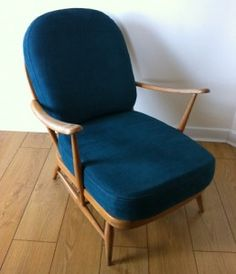 Ercol Windsor Armchair - Reupholstered in a Teal Linen Fabric (Going to reupholster my old Ercol rocking chair in teal linen)