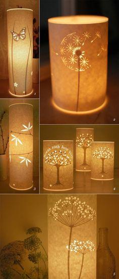 runde laternen aus weißem papier, blumen, schmetterling, bäume