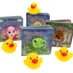 A Classic childrens story book retold in a chunky Finger Puppet board book and a squeaky duck.   1 SUPPLIED ASSORTED TITLES - Book Measures - 9cm x 9 cm
