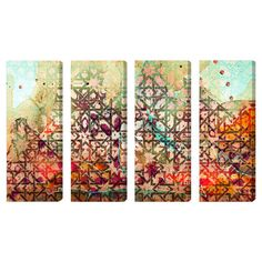 4-piece multicolor canvas print set with an abstract motif and Moroccan-inspired overlay. Made in the USA.   Product: 4-Piece wall ar...