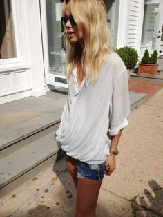 Elin Kling in Montauk wearing our Lush Voile Top.