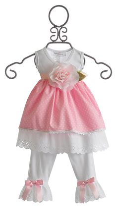 Katie Rose Pink Eyelet Infant Dress and Legging $76.00