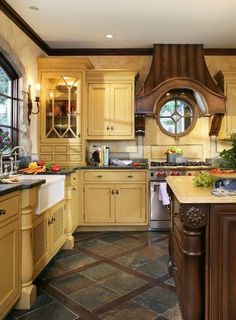 French Normandy Kitchen - traditional - Kitchen - New York - J. Stephens Interiors / love the hood & window Country Kitchen Cabinets, Country Kitchen Designs, French Country Kitchens, Kitchen Decor, Kitchen Wood, Country French, Kitchen Shelves, French Style, Slate Floor Kitchen