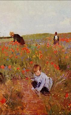 Artist: Mary Cassatt (American Impressionist Artist, 1844 – 1926) Title: Red poppies Start Date: 1874 Completion Date:1880 Style: Impressionism ,from Iryna