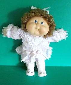 Cabbage Patch Girl Doll 1987 Cornsilk Dark Blonde Blue Eyes Dress Tights Gloves #Coleco #DollswithClothingAccessories