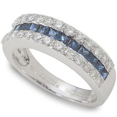 flat = deb loves it, plus its blue. Wedding Jewelry, Wedding Rings, Diamond Dreams, Diamond Wedding Bands, Sapphire Wedding, Sapphire Band, Wedding Anniversary, Fashion Jewelry, White Gold