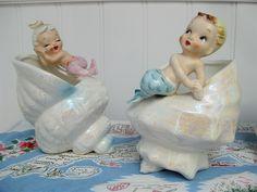 Wonderfully cute little vintage mermaid figurines. Would be adorable in a bathroom!