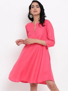 Linen Cotton Dress with Straight Fit. three fourth sleeve and two pockets. Embroidery On Kurtis, Kurti Embroidery Design, Gray Dress, Pink Dress, Kurta With Pants, Saree Dress, Cotton Dresses, Party Wear, Dress To Impress