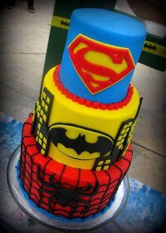 Super man Batman & Spiderman Cake
