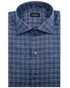 Ermenegildo Zegna Blue with Navy Windowpane Dress Shirt Classic fit Spread collar Flannel weight Rounded barrel cuff Single button cuff 100% cotton