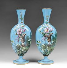 Pair of Harrach Bohemian Opaline Glass Enamel Vases With Gnomes from Pia's Antique Gallery on Ruby Lane