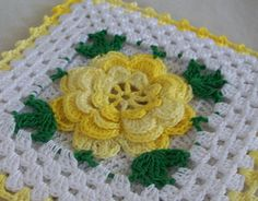 Thread crochet flower potholder, crocheted from vintage pattern. Large shaded yellow Irish crochet rose with green accents and yellow edging. Square, measures six inches across. Loop on back for hanging. Crocheted with crochet cotton and steel hook. Crochet Home, Irish Crochet, Crochet Crafts, Crochet Projects, Vintage Crochet Patterns, Crochet Flower Patterns, Crochet Motif, Rose Patterns, Crochet Potholders