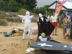 Cardboard boat race - the winners + cardboard coffin!