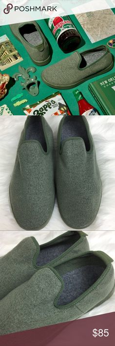 """Allbirds light green wool loungers slip on shoes Authentic. Brand new, w/o box. I have multiple colors and sizes of Allbirds for sale so make sure to check out my other listings as well.   This listing is for Allbirds men's moss green slip on loungers. Sizes available: 9 in men's sizing. ***PLEASE NOTE*** - These fit like a size 10.5 in women's shoe sizing.   If you are a half size, round up.   Allbirds are unisex!  TIME has dubbed these shoes, """"The world's most comfortable shoes"""".  Allbirds…"""
