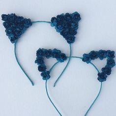 Flower Cat Ear headband frame only, flowers on front, leaves on the back full ear flowers on front, felt back