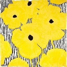 Donald Sultan - Yellow Flowers on a Striped Ground: Yellow Flowers, Floral Imagery,