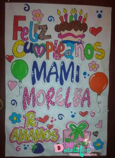 Pancarta de cumpleaños para mama Mom Birthday, Ideas Para, Valentines, Regalos Ideas, Diy, Inspirational, Design, Outfit, Creative Gifts