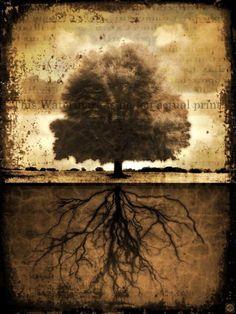 ANTIQUE TREE LANDSCAPE Mixed Media Digital by galeriedeilluminata, $88.00