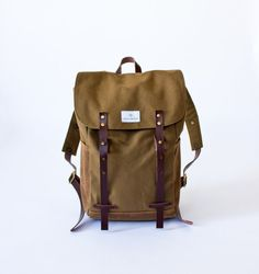 NO 2, Backpack in Tobacco, canvas, waxed canvas